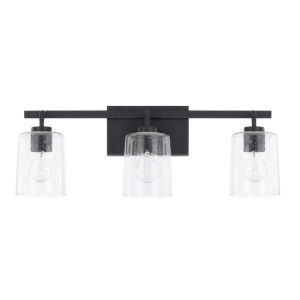 HomePlace Greyson Matte Black 25-Inch Three-Light Bath Vanity