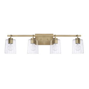 HomePlace Greyson Aged Brass 34-Inch Four-Light Bath Vanity