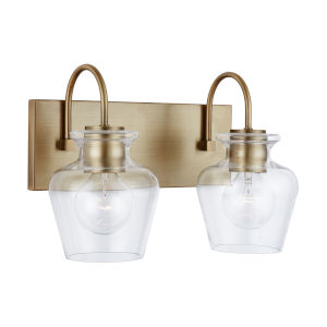 Danes Aged Brass Two-Light Bath Vanity with Clear Glass