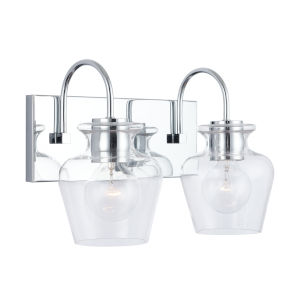Danes Chrome Two-Light Bath Vanity with Clear Glass