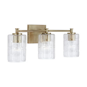 Aged Brass Three-Light Bath Vanity with Clear Embossed Glass