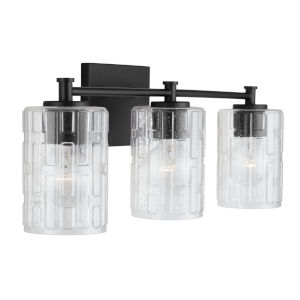 Matte Black Three-Light Bath Vanity with Clear Embossed Glass