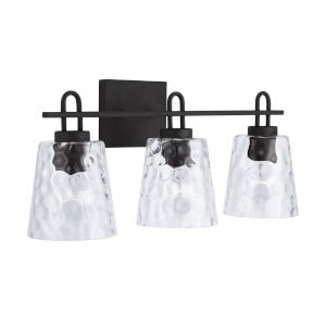 Black Iron Three-Light Bath Vanity with Clear Water Glass