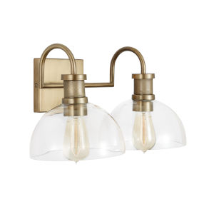 Aged Brass Two-Light Bath Vanity with Clear Glass