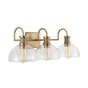 Aged Brass Three-Light Bath Vanity with Clear Glass