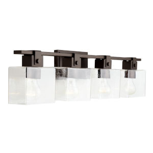 Oil Rubbed Bronze Four-Light Bath Vanity with Clear Seeded Glass