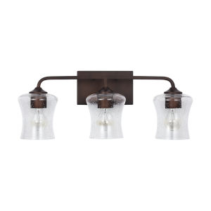 HomePlace Reeves Bronze Three-Light Bath Vanity with Clear Seeded Glass