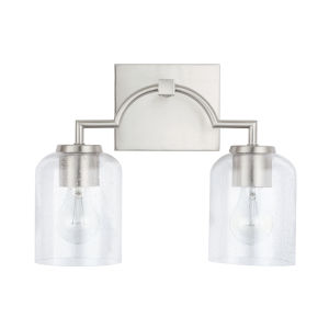 HomePlace Carter Brushed Nickel Two-Light Bath Vanity with Clear Seeded Glass