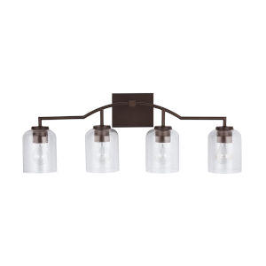 HomePlace Carter Bronze Four-Light Bath Vanity with Clear Seeded Glass