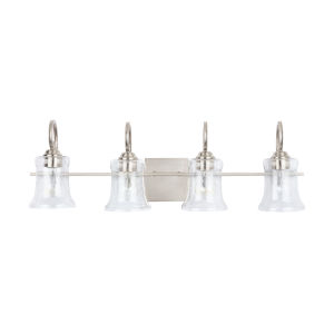 HomePlace Cameron Brushed Nickel Four-Light Bath Vanity with Clear Seeded Glass