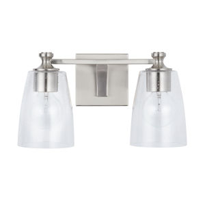 HomePlace Myles Brushed Nickel Two-Light Bath Vanity with Clear Seeded Glass