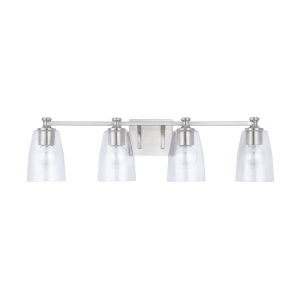 HomePlace Myles Brushed Nickel Four-Light Bath Vanity with Clear Seeded Glass