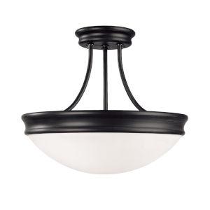 Matte Black Three-Light Flush Mount
