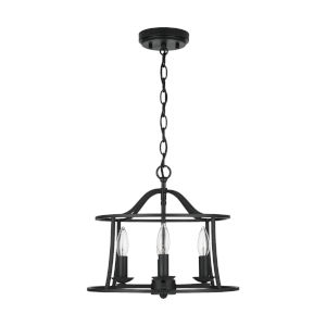 HomePlace Cameron Matte Black Four-Light Semi-Flush Mount and Pendant