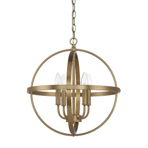 HomePlace Aged Brass 17-Inch Four-Light Pendant
