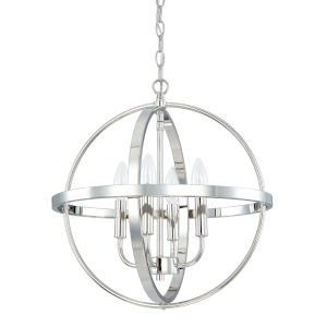 HomePlace Polished Nickel 17-Inch Four-Light Pendant