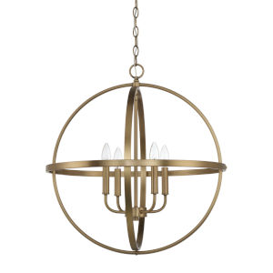 HomePlace Aged Brass 23-Inch Four-Light Pendant