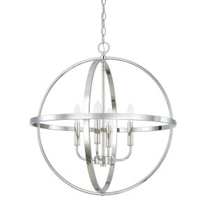 HomePlace Polished Nickel 23-Inch Four-Light Pendant