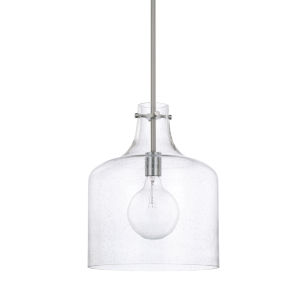 HomePlace Brushed Nickel Seeded Glass 12-Inch One-Light Pendant