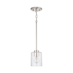 HomePlace Greyson Brushed Nickel Mini Pendant with Clear Seeded Glass