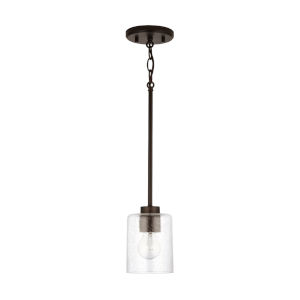 HomePlace Greyson Bronze Mini Pendant with Clear Seeded Glass