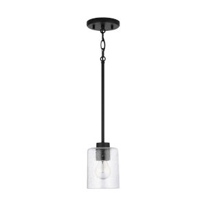 HomePlace Greyson Matte Black Mini Pendant with Clear Seeded Glass