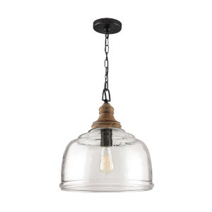 Grey Wash and Iron Silk One-Light Pendant with Clear Organic Rippled Glass