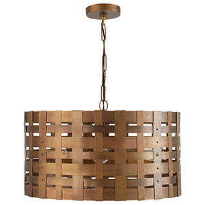 Independent Patinaed Brass Four-Light Pendant