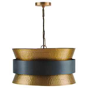 Independent Patinaed Brass and Dark Zinc Four-Light Pendant