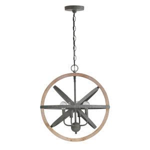 Iron and Wood 18-Inch Four-Light Pendant