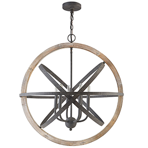 Independent Iron and Wood Six-Light Pendant