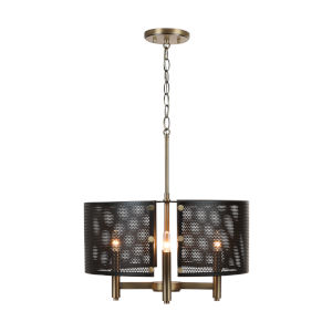 Dax Aged Brass and Black Four-Light Pendant
