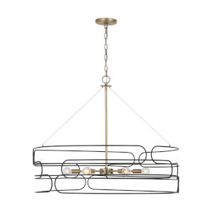 Arlo Aged Brass and Black 34-Inch Six-Light Pendant