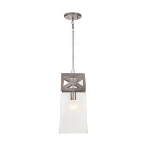 Brushed Nickel 7-Inch One-Light Mini Pendant with Clear Glass