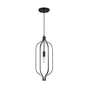 Nira Matte Black One-Light Mini Pendant
