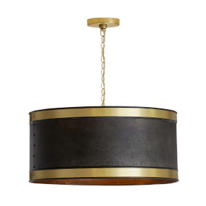 Galvanized Black and True Brass Four-Light Pendant