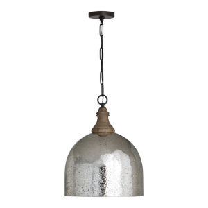 Grey Wash and Pewter 15-Inch One-Light Pendant with Stone Seeded Mercury Glass