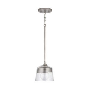 Decker Washed Grey One-Light Mini Pendant with Clear Seeded Glass