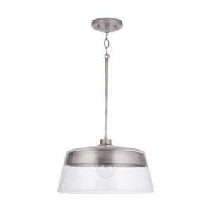 Decker Washed Grey 61-Inch One-Light Pendant with Clear Seeded Glass