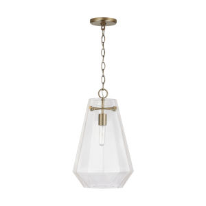 Aged Brass One-Light Pendant with Clear Prismatic Glass