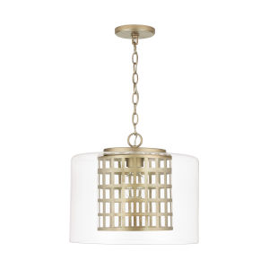 Aged Brass Painted One-Light Pendant with Clear Glass