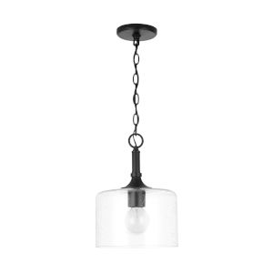 HomePlace Carter Matte Black Pendant with Clear Seeded Glass