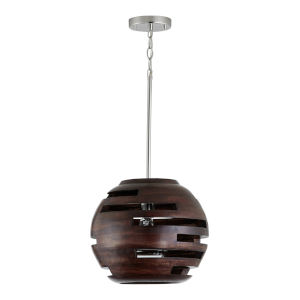 Dalton Dark Wood and Polished Nickel 14-Inch One-Light Pendant