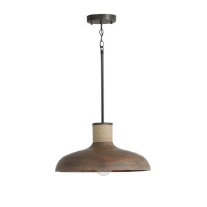 Jacob Grey Wash and Iron Silk 17-Inch One-Light Pendant