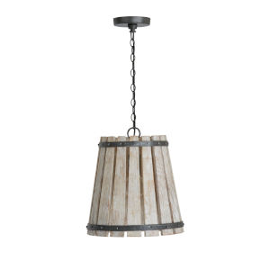 Remi Brushed White Wash and Nordic Iron One-Light Pendant