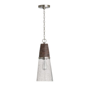 Connor Black Wash and Matte Nickel One-Light Mini Pendant with Clear Stone Seeded Glass