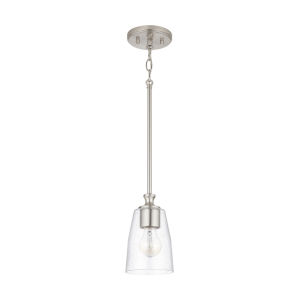 HomePlace Myles Brushed Nickel Mini Pendant with Clear Seeded Glass