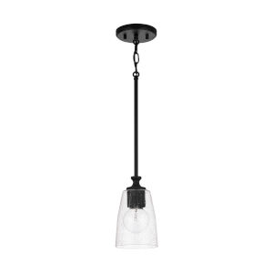 HomePlace Myles Matte Black Mini Pendant with Clear Seeded Glass
