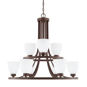 HomePlace Jameson Bronze 30-Inch Nine-Light Chandelier