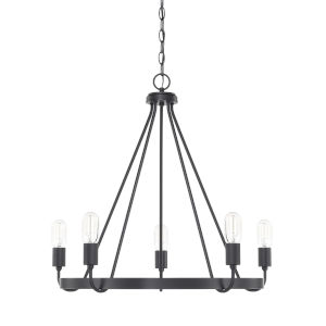 HomePlace Tanner Matte Black 27-Inch Five-Light Chandelier